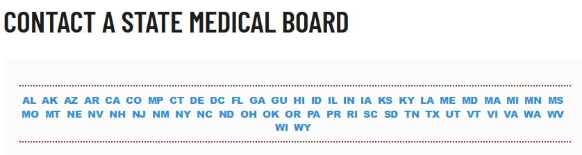 State medical boards for medical licensing-contact details for each state medical board
