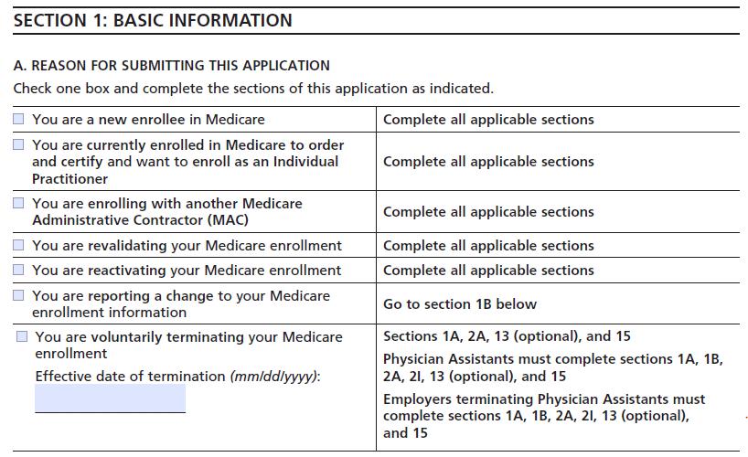 CMS-855I - medicare provider enrollment application - Basic information