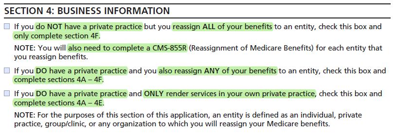 CMS-855I - medicare provider application - Business information