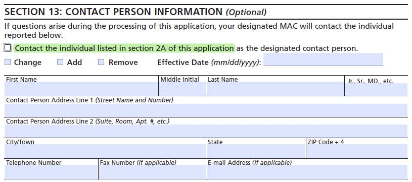 CMS-855I - enrollment application - Contact information