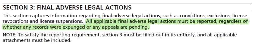 CMS-855I - medicare provider enrollment form - Final Adverse legal actions