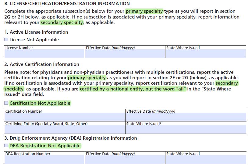 CMS-855I - License, certification & registration - B