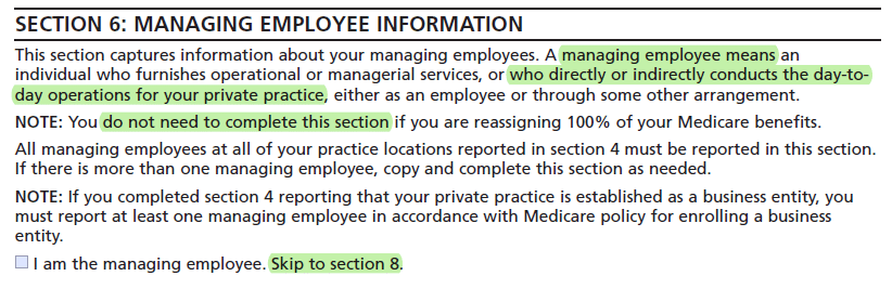 CMS 855i - Managing employee information
