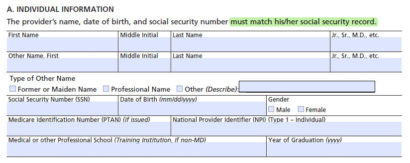 CMS-855I - Personal Identifying Information - A