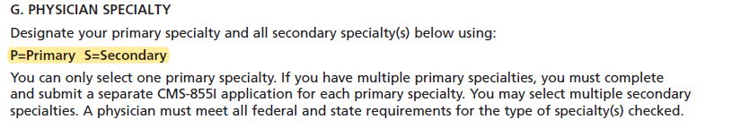 CMS-855I - medicare provider enrollment application - Physician specialty - G