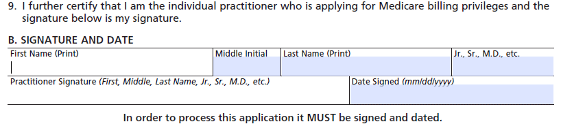 CMS-855I - enrollment application - certifying and signature