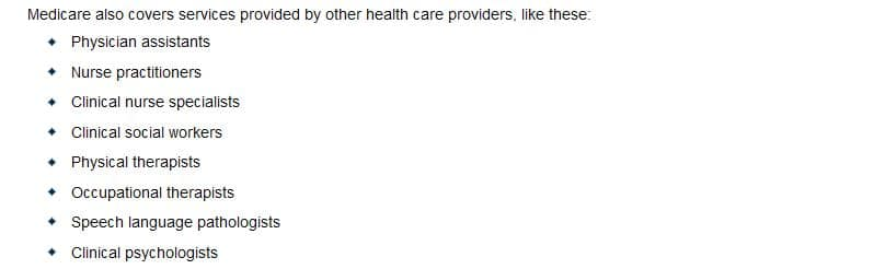 Types of providers eligible to enroll in Medicare.